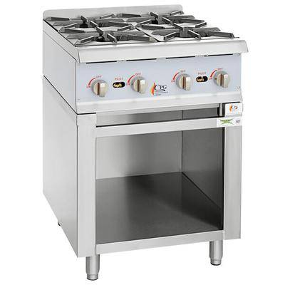 "Cooking Performance Group ""Cooking Performance Group 24RSBNL Natural Gas 24"""" 4 Burner Range / Hot Plate with Storage Base - 88,000 BTU"""
