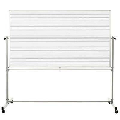 "Luxor ""Luxor MB7248MM 72"""" x 48"""" Double-Sided Magnetic Music Whiteboard with Aluminum Frame and Stand"""