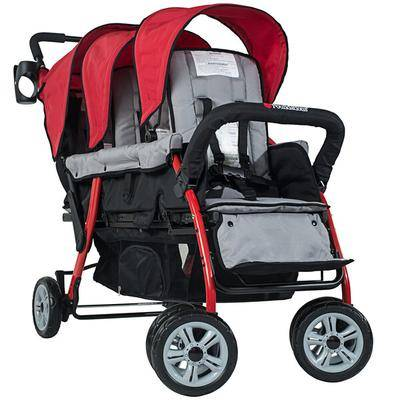 Foundations Worldwide Inc. Foundations 4130079 Trio Sport 3-Passenger Red / Black Stroller with Canopies, 5-Point Harnesses, and Storage Basket