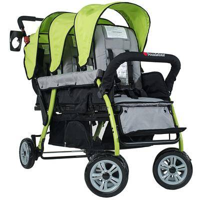 Foundations Worldwide Inc. Foundations 4130299 Trio Sport 3-Passenger Lime / Black Stroller with Canopies, 5-Point Harnesses, and Storage Basket