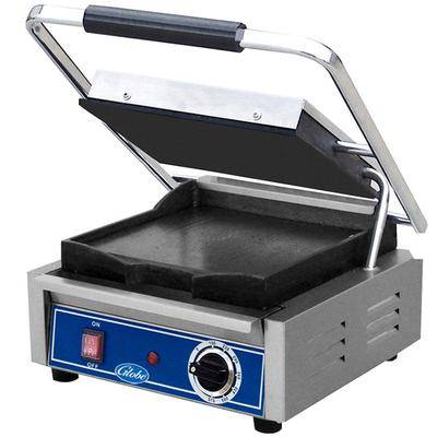"Globe ""Globe GSG10 Bistro Series Sandwich Grill with Smooth Plates - 10"""" x 10"""" Cooking Surface - 120V, 1800W"""