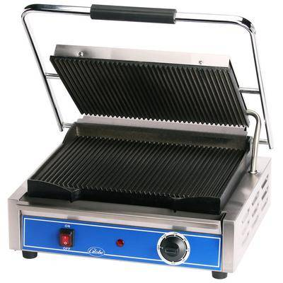 "Globe ""Globe GPG1410 Grooved Iron Top & Bottom Panini Sandwich Grill - 14"""" x 10"""" Cooking Surface - 120V, 1800W"""