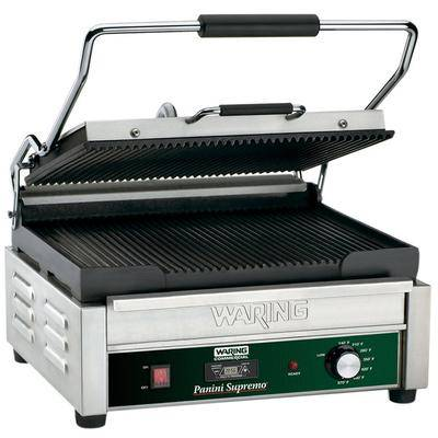 "Waring ""Waring WPG250T Panini Supremo Grooved Top & Bottom Panini Sandwich Grill with Timer - 14 1/2"""" x 11"""" Cooking Surface - 120V, 1800W"""