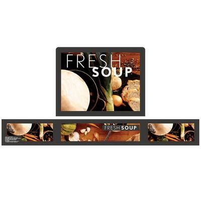 Vollrath 720201102 Full Size Soup Merchandiser Base with Menu Board, 4 Qt. Accessory Pack, and Tuscan Graphics - 120V, 1000W