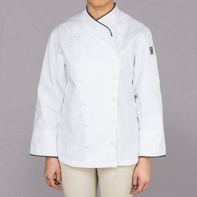 Chef Revival Corporate LJ008 Ladies White Customizable Executive Long Sleeve Coat with Black Piping - L