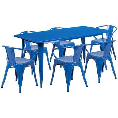 """Flash Furniture """"Flash Furniture ET-CT005-6-70-BL-GG 31 1/2"""""""" x 63"""""""" Rectangular Blue Metal Indoor / Outdoor Dining Height Table with 6 Arm Chairs"""""""