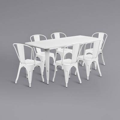 """Flash Furniture """"Flash Furniture ET-CT005-6-30-WH-GG 31 1/2"""""""" x 63"""""""" Rectangular White Metal Indoor / Outdoor Dining Height Table with 6 Cafe Style Chairs"""""""