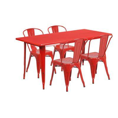 """Flash Furniture """"Flash Furniture ET-CT005-4-30-RED-GG 31 1/2"""""""" x 63"""""""" Rectangular Red Metal Indoor / Outdoor Dining Height Table with 4 Cafe Style Chairs"""""""