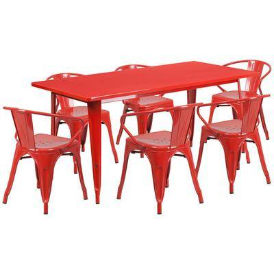"""Flash Furniture """"Flash Furniture ET-CT005-6-70-RED-GG 31 1/2"""""""" x 63"""""""" Rectangular Red Metal Indoor / Outdoor Dining Height Table with 6 Arm Chairs"""""""