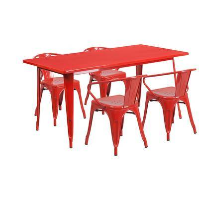 """Flash Furniture """"Flash Furniture ET-CT005-4-70-RED-GG 31 1/2"""""""" x 63"""""""" Rectangular Red Metal Indoor / Outdoor Dining Height Table with 4 Arm Chairs"""""""