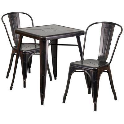 """Flash Furniture """"Flash Furniture CH-31330-2-30-BQ-GG 23 3/4"""""""" Square Black-Antique Gold Metal Indoor / Outdoor Table with 2 Stack Chairs"""""""