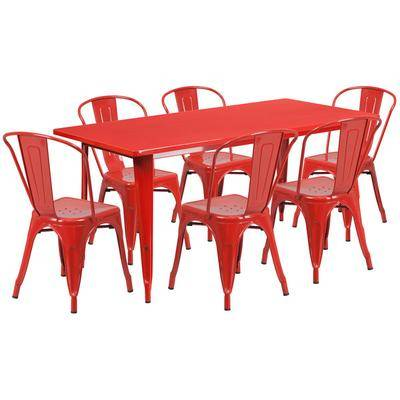 """Flash Furniture """"Flash Furniture ET-CT005-6-30-RED-GG 31 1/2"""""""" x 63"""""""" Rectangular Red Metal Indoor / Outdoor Dining Height Table with 6 Cafe Style Chairs"""""""