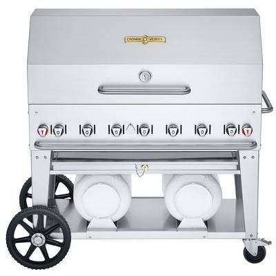 "Crown Verity CV-CCB-48RDP Club Series 48"""" Outdoor Mobile Grill with Roll Dome Package and 2 Horizontal Propane Tanks - 114,000 BTU"""