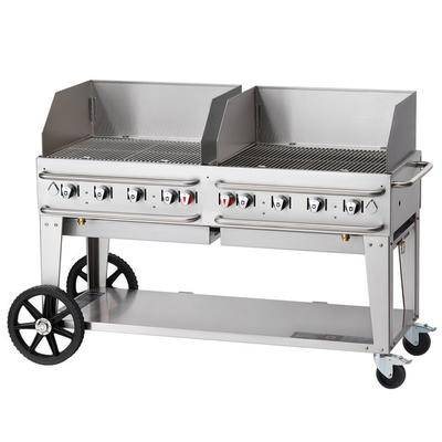 "Crown Verity RCB-60WGP-SI-LP 60"""" Pro Series Outdoor Rental Grill with Single Gas Inlet and Wind Guard Package"""
