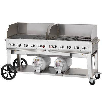 "Crown Verity CCB-72WGP 72"""" Outdoor Club Grill with 2 Horizontal Propane Tanks and Wind Guard Package"""