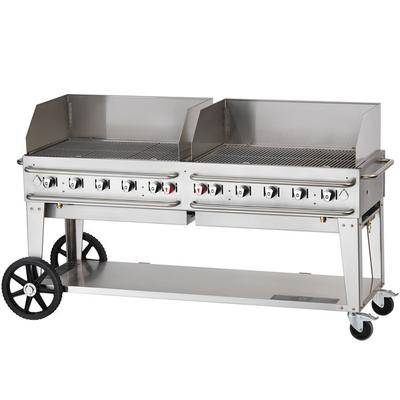 "Crown Verity RCB-72WGP-SI-LP 72"""" Pro Series Outdoor Rental Grill with Single Gas Inlet and Wind Guard Package"""