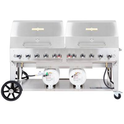 "Crown Verity CCB-72RDP 72"""" Outdoor Club Grill with 2 Horizontal Propane Tanks and Roll Dome Package"""