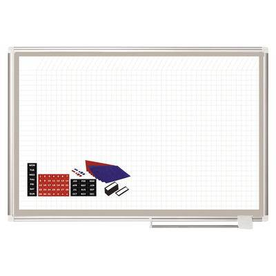 """MasterVision """"MasterVision GA05108830A 36"""""""" x 48"""""""" White Grid Porcelain Dry Erase All-Purpose Planning Board with Accessories - 1"""""""" x 1"""""""" Grid"""""""