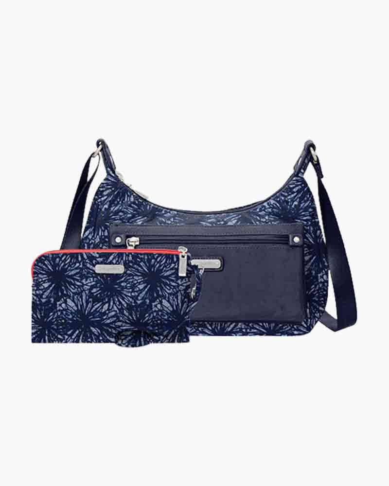 baggallini Out and About Bagg with RFID Phone Wristlet in Indigo Floral