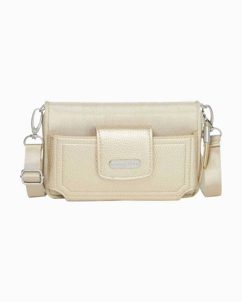 baggallini RFID Phone Wallet Crossbody in Champagne Shimmer