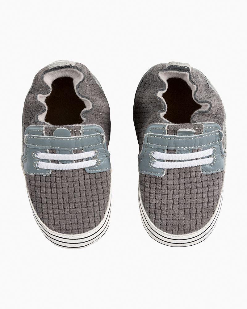 Robeez Boy's Jude Grey Soft Soles Infant Shoes