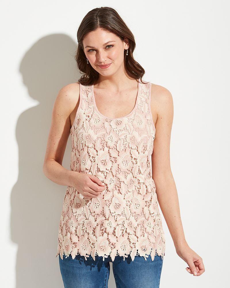Mia + Tess Designs  Crochet Floral Tank Top in Rose