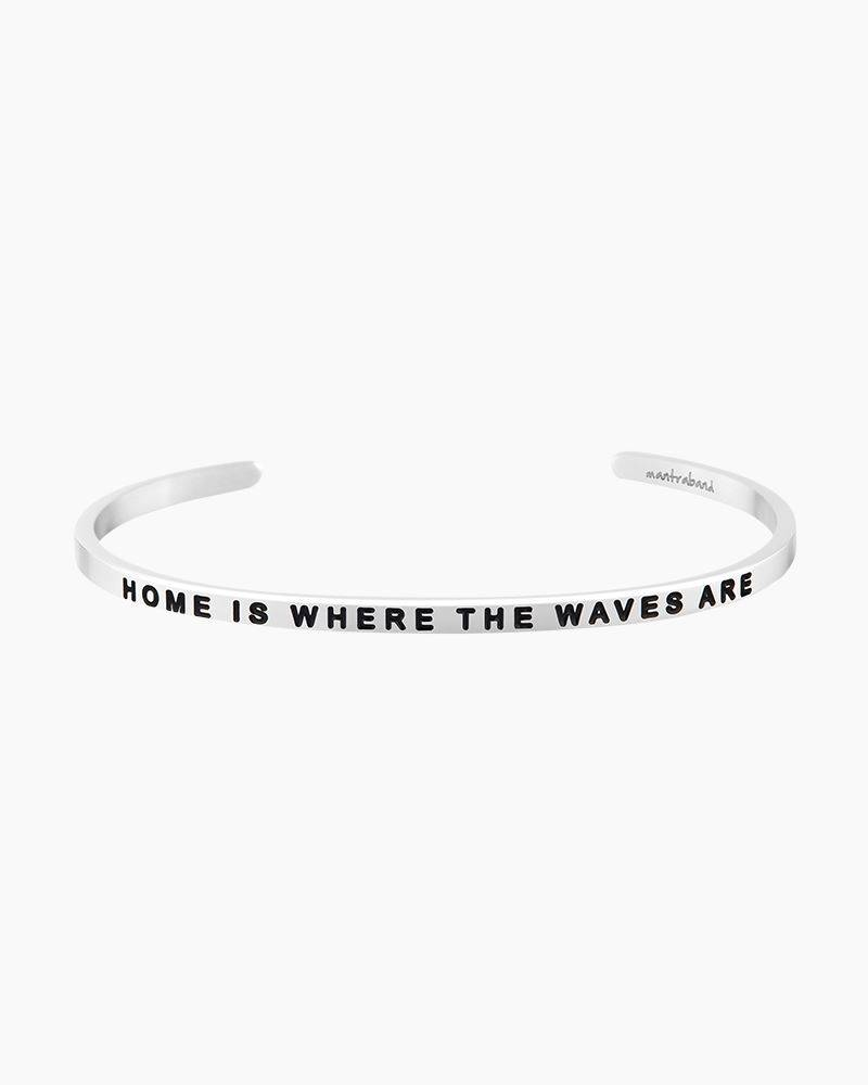 Mantraband Home is Where the Waves Are Silver Cuff Bracelet