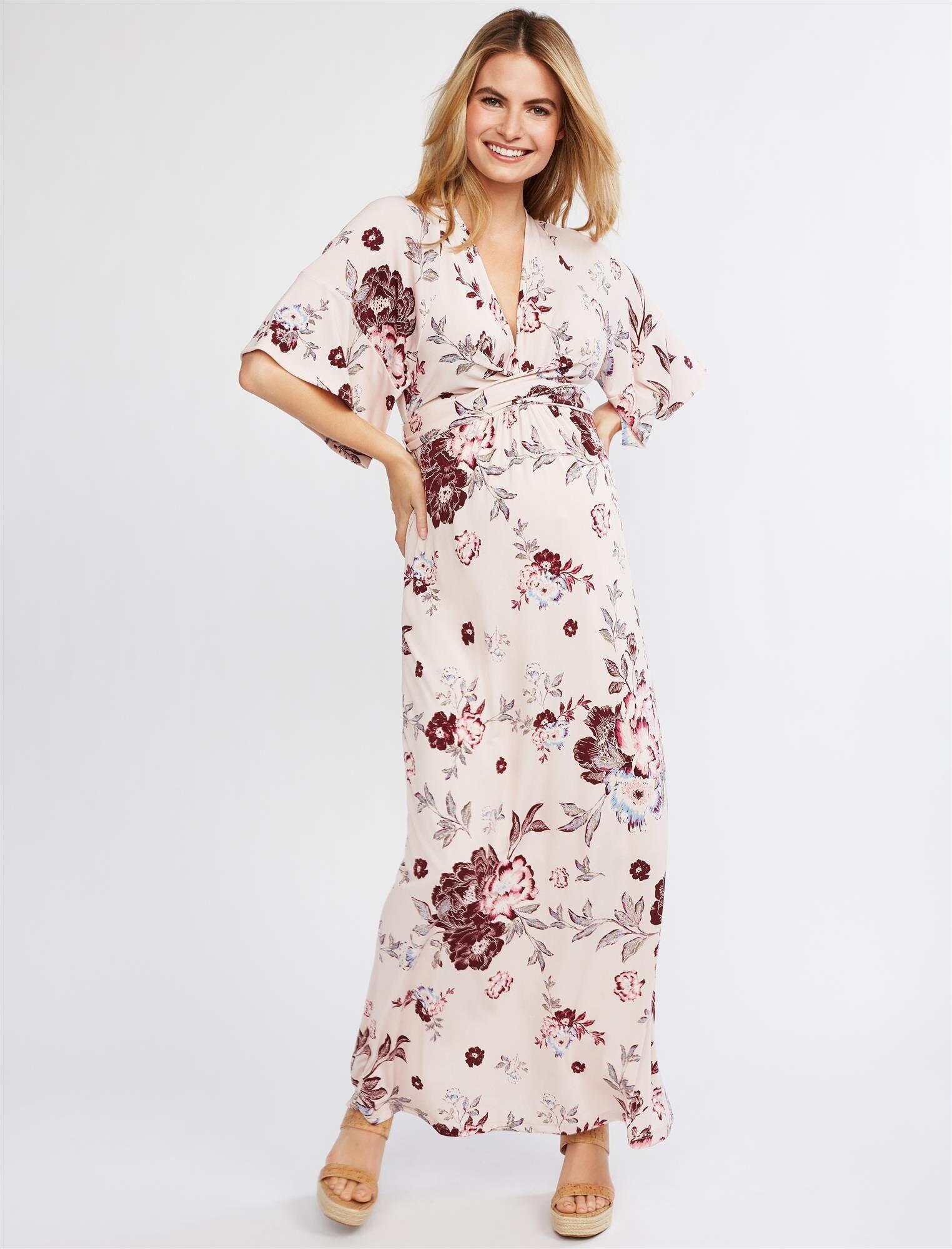 Motherhood Maternity Jessica Simpson Flutter Sleeve Floral Wrap Maternity Dress in   (Size: )
