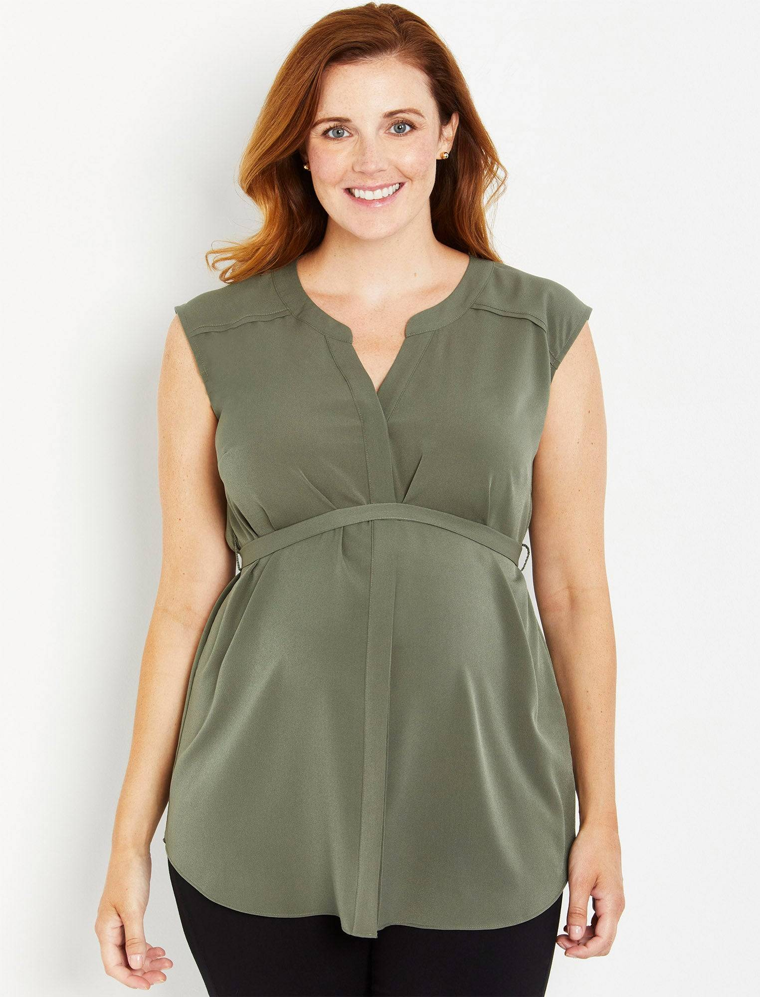 Motherhood Maternity Cap Sleeve Tie Detail Maternity Tunic in   (Size: )