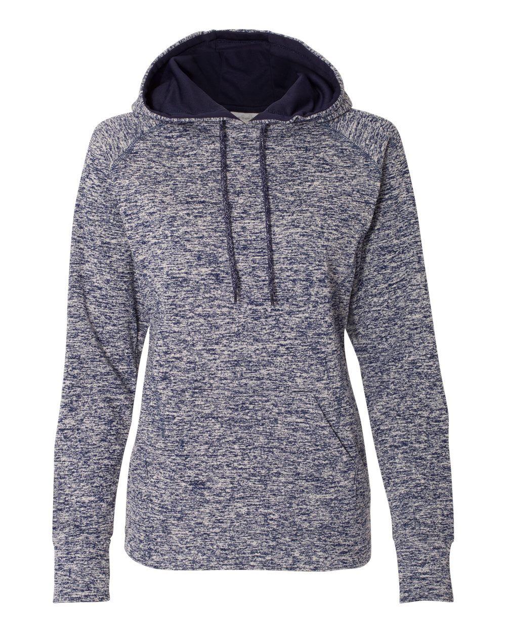 J. America - Womens Cosmic Fleece Hooded Sweatshirt - 8616 - Navy Fleck/ Navy - Small