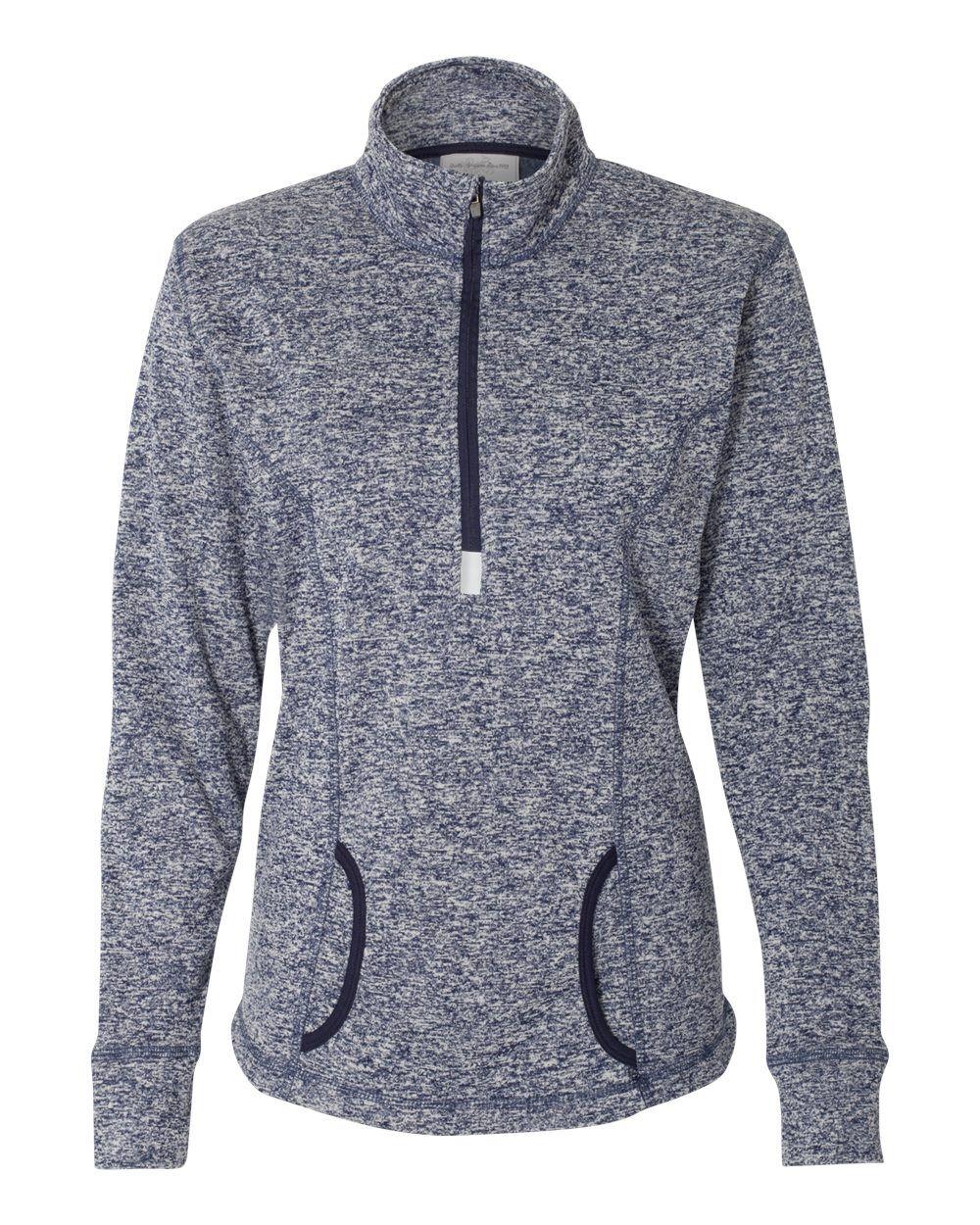 J. America - Women's Cosmic Fleece Quarter-Zip Pullover - 8617 - Navy Fleck/ Navy - Small