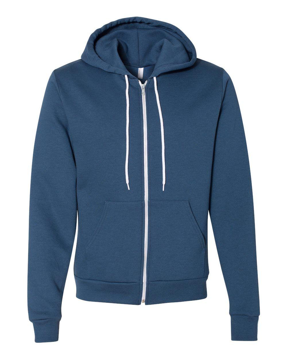 American Apparel - USA-Made Flex Fleece Unisex Full-Zip Hoodie - F497US - Sea Blue - Small