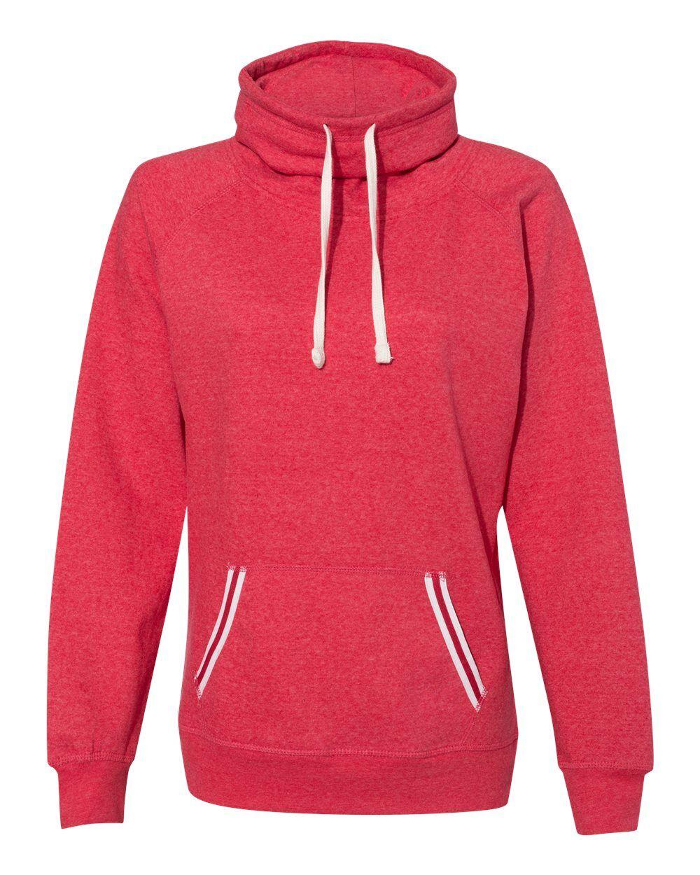 J. America - Womens Relay Cowl Neck Sweatshirt - 8653 - Red - 2X-Large