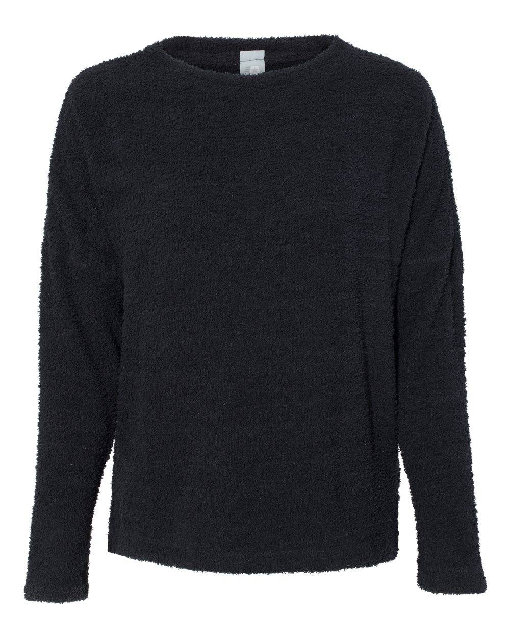 J. America - Womens Teddy Fleece Crewneck Pullover - 8681 - Black - Large