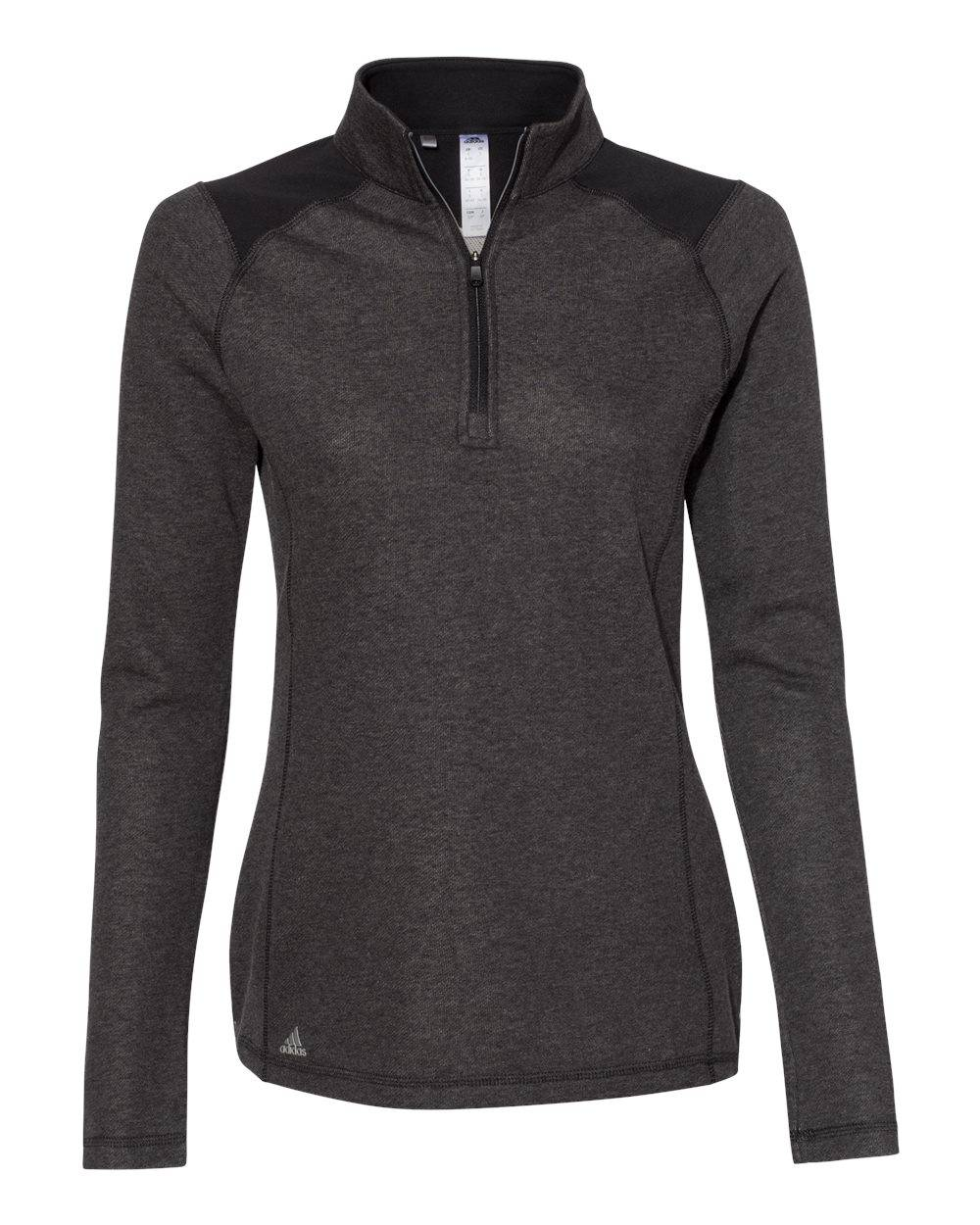 Adidas - Women's Heathered Quarter Zip Pullover with Colorblocked Shoulders - A464 - Black Heather - X-Large
