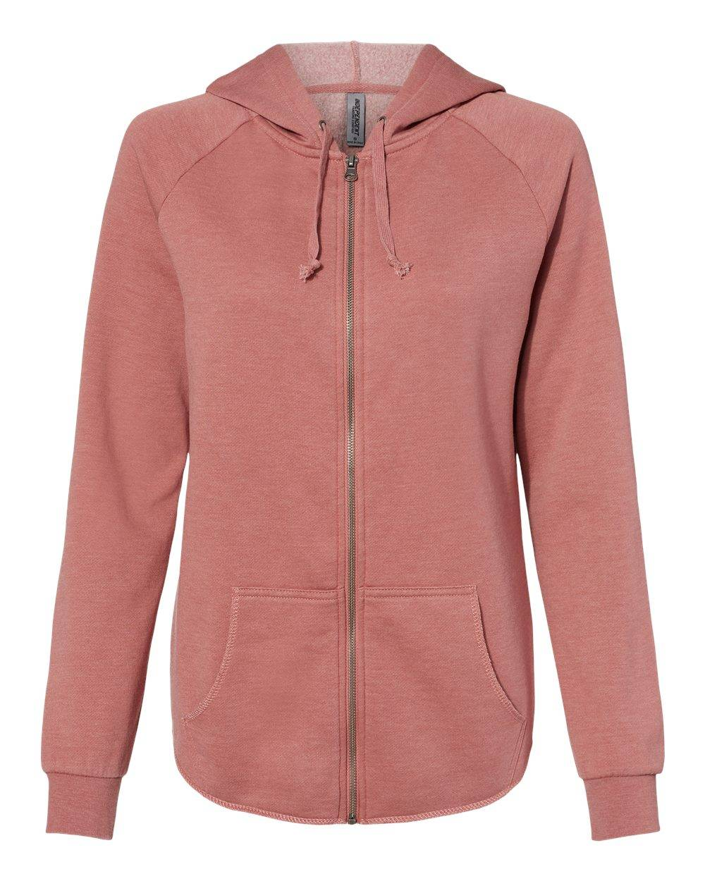 Independent Trading Co. - Women's California Wave Wash Full-Zip Hooded Sweatshirt - PRM2500Z - Dusty Rose - Large