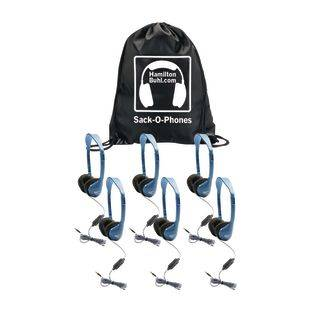 Really Good Stuff Inc HamiltonBuhl Sack O Phones  6 Pack Headset with In Line Microphone and Volume Control by Really Good Stuff Inc