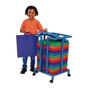 Discount School Supply Environments Indoor Outdoor Sit Upon Set of 15 with Mobile Storage Cart by Discount School Supply