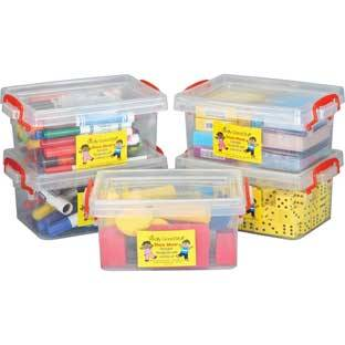 Really Good Stuff Inc Stackable Storage Tubs With Locking Lid  Small   5 tubs 5 lids by Really Good Stuff Inc