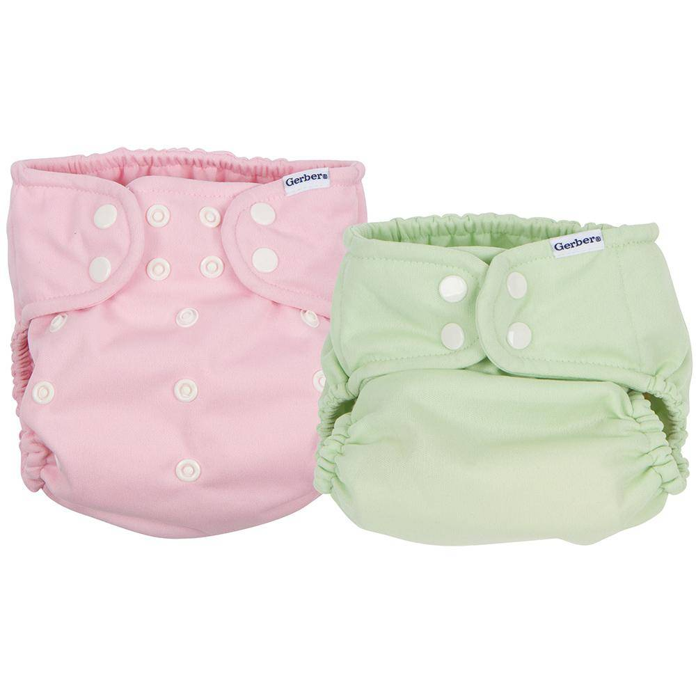 Gerber 2-Pack Girls Pink & Green All-in-One Snap Cloth Diaper