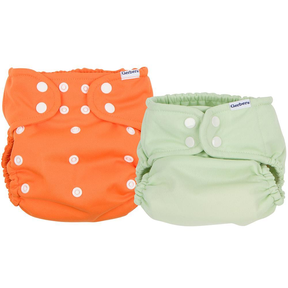 Gerber 2-Pack Neutral Orange & Green All-In-One Snap Cloth Diaper
