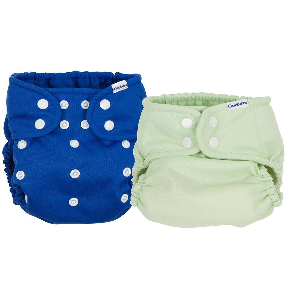 Gerber 2-Pack Blue and Green All-in-One Snap Cloth Diapers