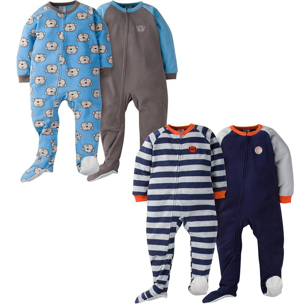 Gerber 4-Pack Toddler Boy Monkey & Sports Blanket Sleepers - 3T