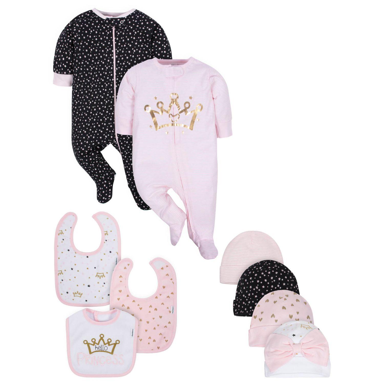 Gerber Baby Girls' 9-Piece Organic Princess Sleep 'n Play, Cap, and Bib Set - 0-3M