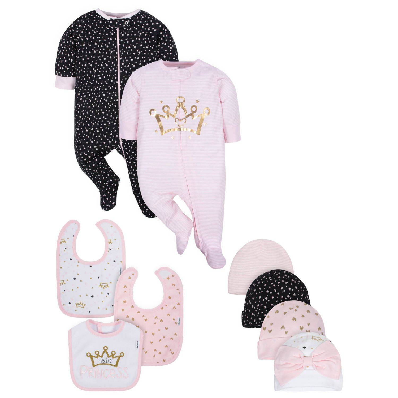 Gerber Baby Girls' 9-Piece Organic Princess Sleep 'n Play, Cap, and Bib Set - 3-6M