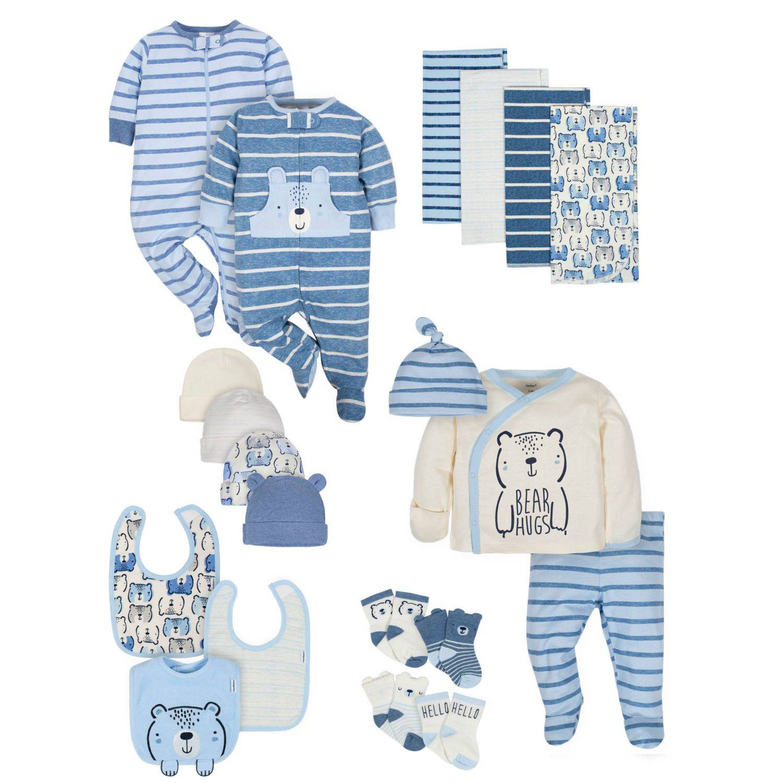 Gerber 20-Piece Baby Boys' Organic Teddy Gift Set - 3-6M