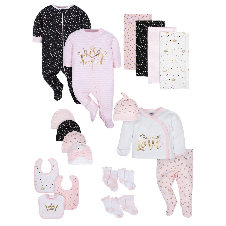 Gerber 20-Piece Baby Girls' Organic Princess Gift Set - 3-6M