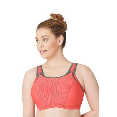 Glamorise Plus Size Women's Adjustable Wire Sport Bra by Glamorise in Coral Grey (Size 38 H)