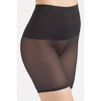 Rago Plus Size Women's Tummy Shaper Band Sheer Bike Pant by Rago in Black (Size Small)