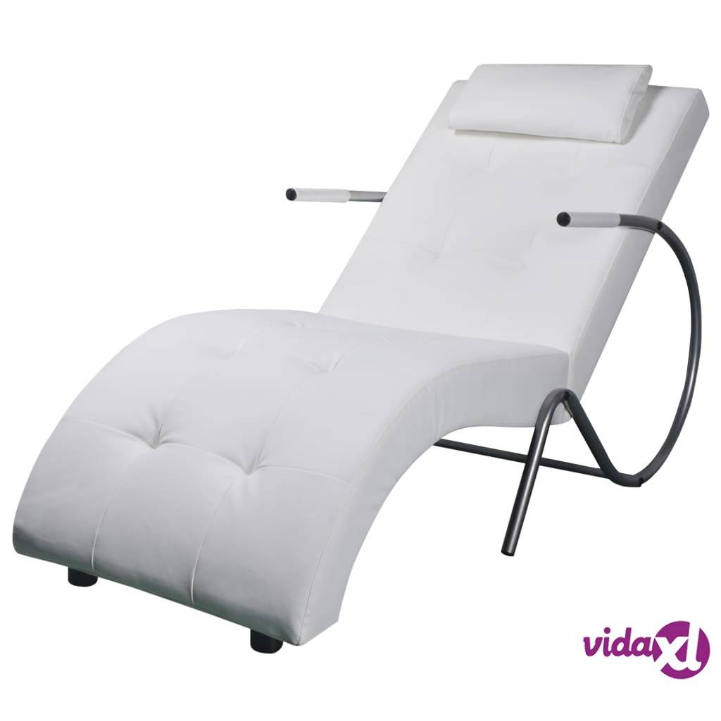 vidaXL Chaise Longue with Pillow White Faux Leather  - White